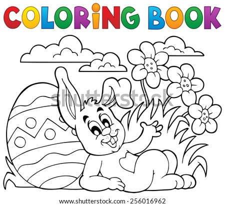 Coloring book Easter rabbit theme 2 - eps10 vector illustration. - stock vector
