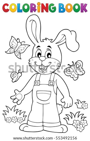 Coloring book Easter rabbit theme 6 - eps10 vector illustration.