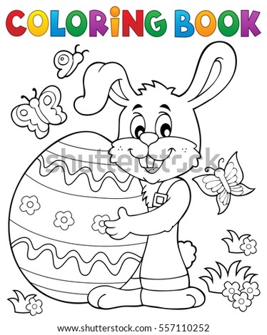 Coloring book Easter rabbit theme 8 - eps10 vector illustration.