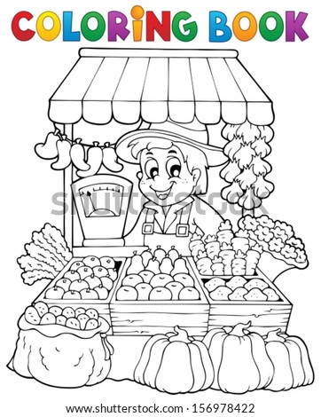 Coloring book farmer theme 2 - eps10 vector illustration. - stock vector