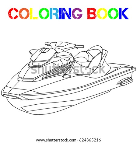 coloring book fast jet ski powerful water scooter beach season rest on