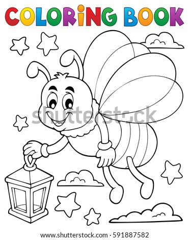 Coloring book firefly with lantern - eps10 vector illustration.
