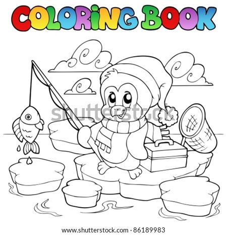 Coloring book fishing penguin - vector illustration. - stock vector