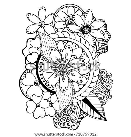 Coloring Book Flowers Stock Vector 710759812 - Shutterstock
