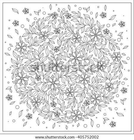 Coloring book for adult and  children. Coloring page with vintage flowers pattern. Floral ornament. Art mandala style. Black and white background. Could be use for coloring book in zentangle style. - stock vector