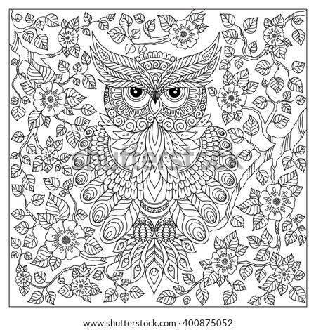 Coloring book for adult and older children. Coloring page with cute owl and floral frame. Outline drawing in zentangle style - stock vector
