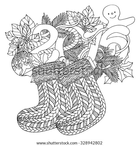Coloring Book For Adult And Older Children Page With Pattern Made Of Christmas Decorative