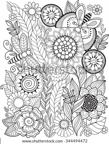 Coloring book for adult. Summer flowers. Vector elements - stock vector