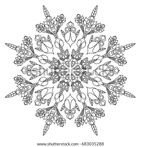 coloring book for adult zentangle flower pattern set of geometry shapes repeating forms - Fractal Coloring Book