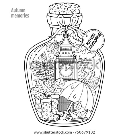 Coloring Book Adults Glass Vessel Autumn Stock Photo Photo Vector