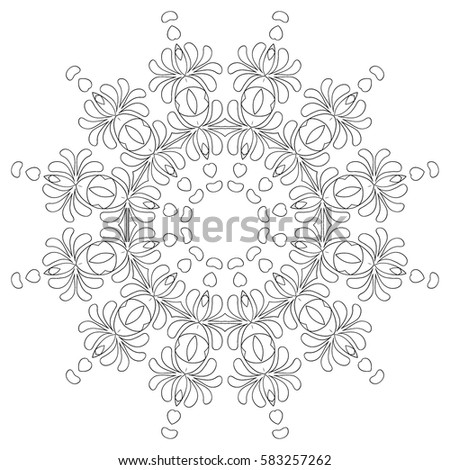 Coloring Book For Adults And Older Children Black White Round Pattern Flourish Arabesque
