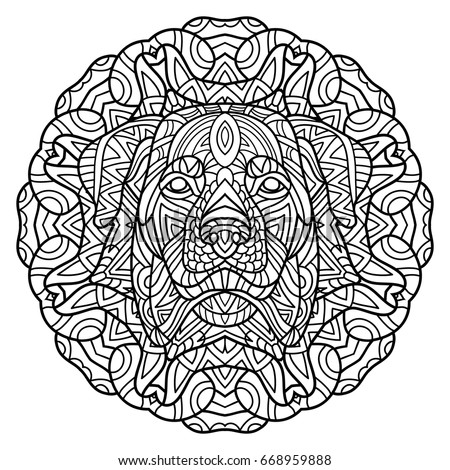 Coloring Book For Adults Dog The Head Of A Rottweiler On