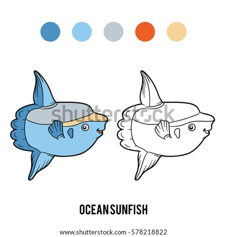 coloring book for children animal ocean sunfish