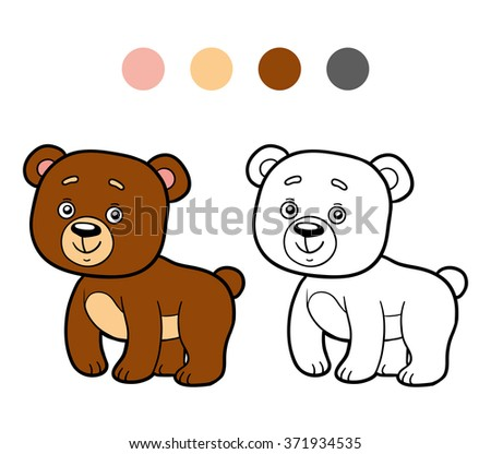 Coloring Book Children Bear Stock Vector 371934535 Shutterstock