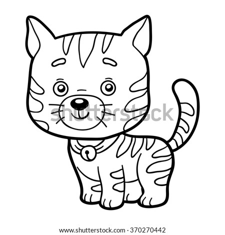 Coloring book for children (cat) - stock vector