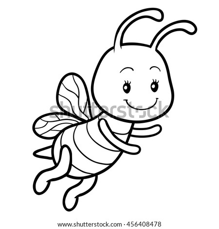 coloring book for children coloring page with a small bee