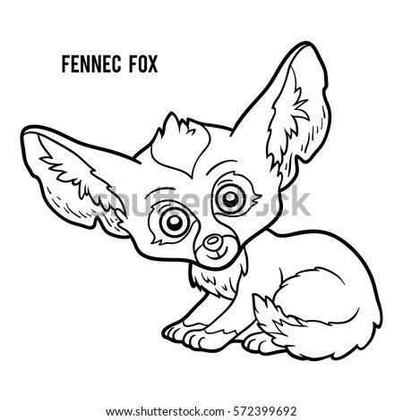 Coloring book for children, Fennec fox