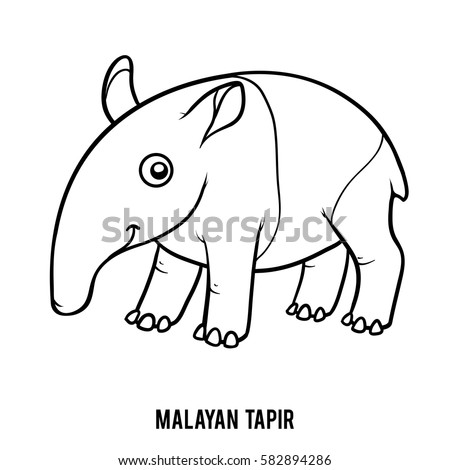 Cute cartoon pug funny dog vector stock vector 582532312 for Tapir coloring page