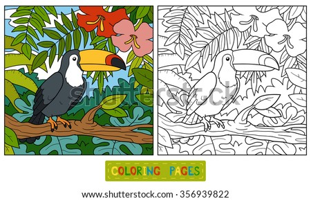 Coloring book for children (toucan and background) - stock vector