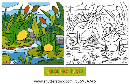coloring book for children two frogs and swamp