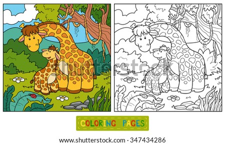 Coloring book for children: two giraffes and background