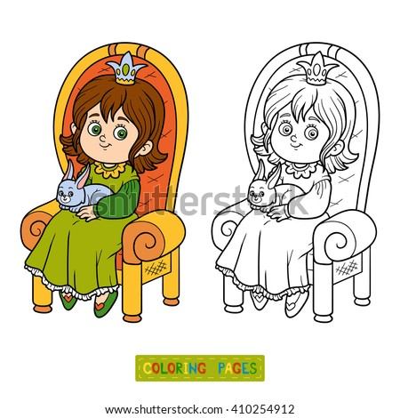 Coloring book for children, young princess seated on a throne with the bunny in hands