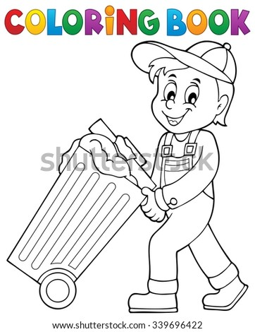 coloring book garbage collector theme 1 eps10 vector illustration