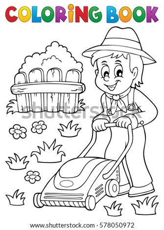Coloring book gardener with lawn mower - eps10 vector illustration.