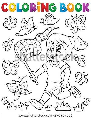 Coloring book girl chasing butterflies - eps10 vector illustration. - stock vector