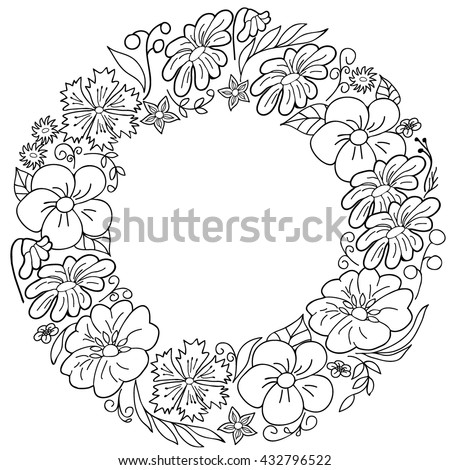 Coloring  book. Hand drawn. Adults, children.Black and white. The wreath of flowers. - stock vector