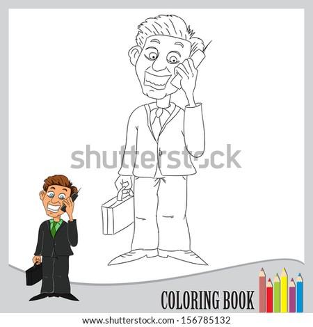 Coloring book - happy businessman (vector) - stock vector