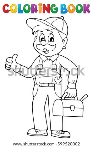 Coloring book happy plumber - eps10 vector illustration.