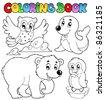 Coloring book happy winter animals - vector illustration. - stock vector