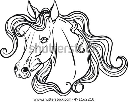Coloring Book Horse Stock Vector (2018) 491162218 - Shutterstock