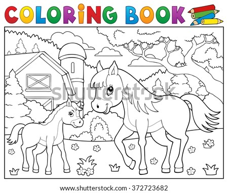 Coloring book horse with foal theme 2 - eps10 vector illustration. - stock vector