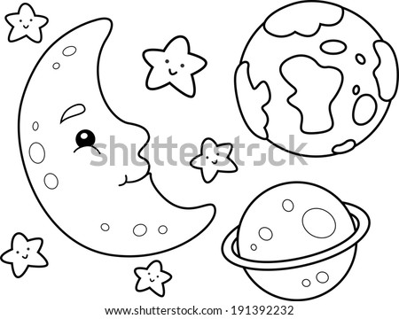 Coloring Book Illustration Featuring Different Heavenly Bodies - stock vector