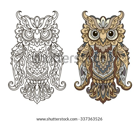 Coloring book, illustration of owl, vector, design element, abstract, doodle style