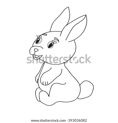 Coloring book. Isolated vector. Hare rabbit.