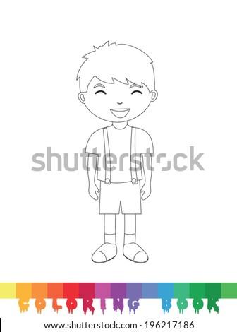 Coloring book kid, vector illustration. - stock vector