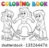Coloring book kids play theme 1 - eps10 vector illustration. - stock