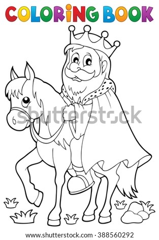 Coloring book king on horse theme 1 - eps10 vector illustration. - stock vector