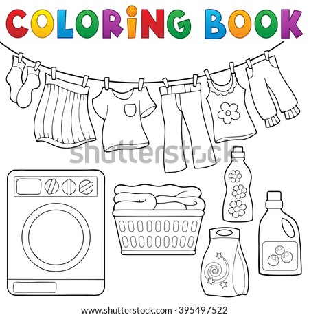 Coloring book laundry theme 2 - eps10 vector illustration. - stock vector