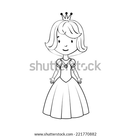 Coloring book: Little girl wearing princess costume - stock vector