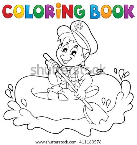 Coloring book little sailor theme 1 - eps10 vector illustration. - stock vector