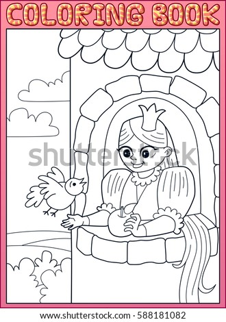 Coloring Book Long Hair Little Princess Rapunzel In A Stone Tower