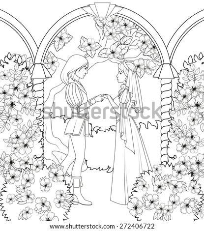 Coloring book: medieval couple holding hands - stock vector