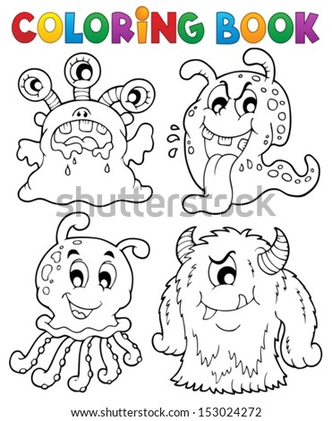 Coloring book monster theme 1 - eps10 vector illustration. - stock vector