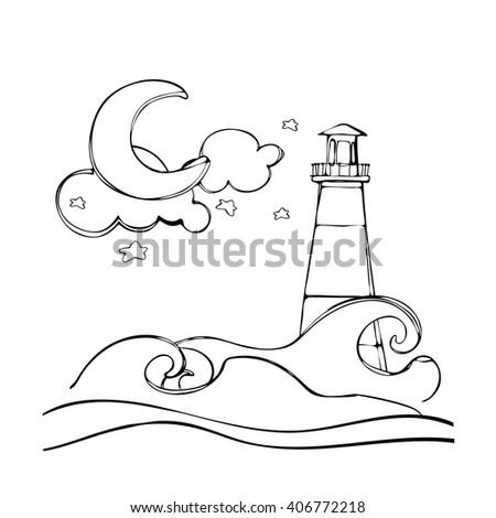Coloring Book Moon Stars Cloud Boat Stock Vector (2018) 406772218 ...