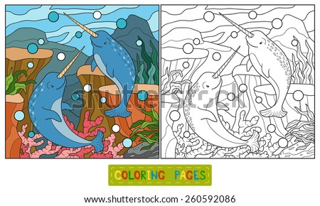 Coloring book (narwhal) - stock vector