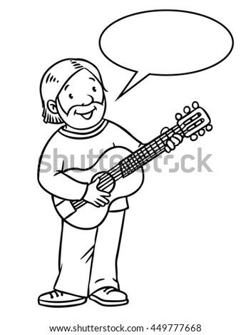 Coloring Book Funny Musician Guitarist Artist Stock Vector (2018 ...